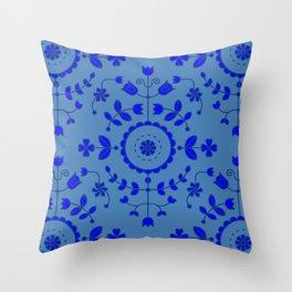 Boho Floral - Cobalt Blue Denim Throw Pillow