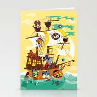 pirate ship Stationery Cards featuring Animal Pirate Ship by Josh Cleland