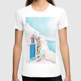 Santorini Greece Blue Door Cozy Photography T-shirt