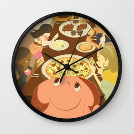 eating moment selfie  Wall Clock