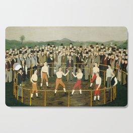 Vintage Boxing Painting - Folk Art Cutting Board
