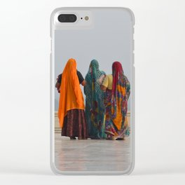 Colourful Indian women at Taj Mahal Clear iPhone Case