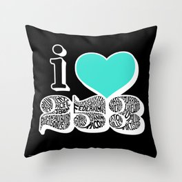 I Love 253 Black Throw Pillow