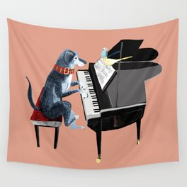 Piano lesson ( Doggy Art ) Wall Tapestry