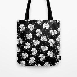 Dark and White Roses Tote Bag