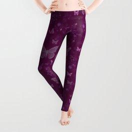 purple repeat pattern, butterflies, stars & flowers Leggings