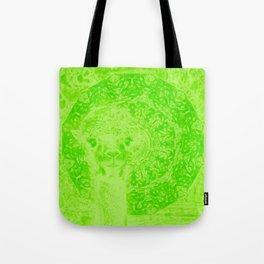 Ghostly alpaca and mandala in Green Flash Tote Bag