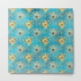 Beautiful Teal & Golden Peacock Feather Pattern Metal Print