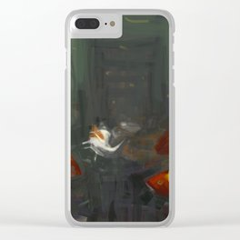 Fish moving under water city old ruins aftemath illustration painting Clear iPhone Case