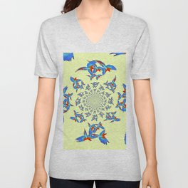 MODERN ART FLOCK OF  BLUE MACAW PARROTS Unisex V-Neck