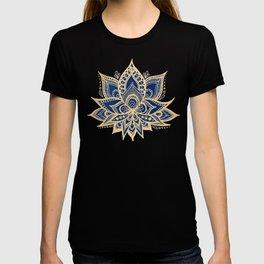 Gold and Blue Lotus Flower Mandala T-shirt
