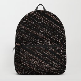 Modern faux rose gold polka dots confetti on black Backpack