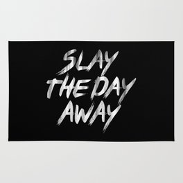 Slay The Day Away Dirty Vintage Brush Typography Rug
