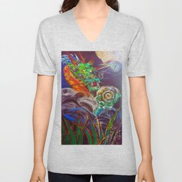 """The Aged and Wise Old Dragon Conquers some Orbs."" Unisex V-Neck"
