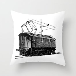 Old City Tram Carriage Detailed Illustration Throw Pillow