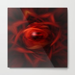 Red Fire Sphere Metal Print
