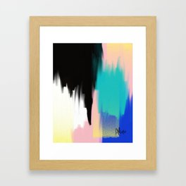 Turquoise Light and Yellow Framed Art Print
