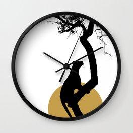 Art print: The leopard on the tree art Wall Clock