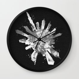 Dubai, United Arab Emirates Black and White Skyround / Skyline Watercolor Painting (Inverted Version Wall Clock
