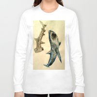 sharks Long Sleeve T-shirts featuring Sharks by Jen Hallbrown