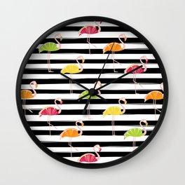 Citrus Flamingo Wall Clock