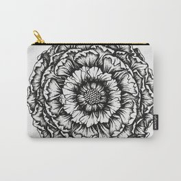 Peony - Black Ink Carry-All Pouch