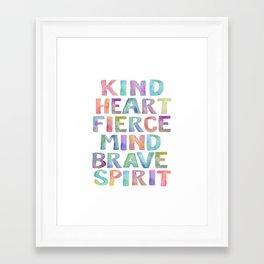 Kind Heart Fierce Mind Brave Spirit Printable Tribal Nursery Quote Girl Tribal Decor Tribal Wreath Framed Art Print