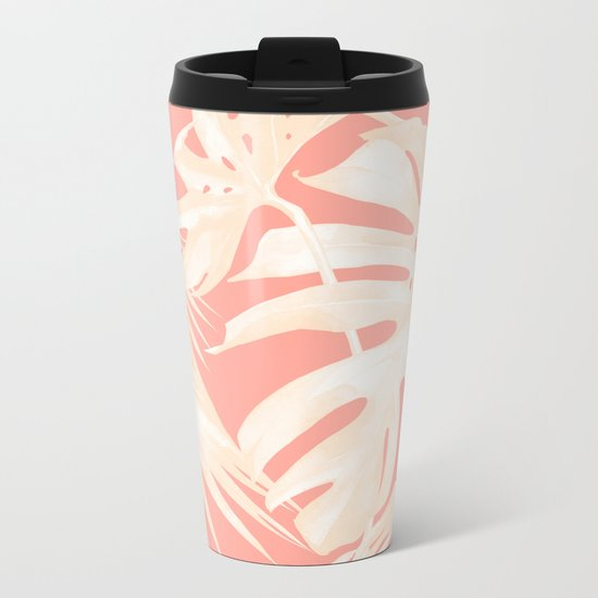 Tropical Coral Pink Palm Leaf Pattern Metal Travel Mug