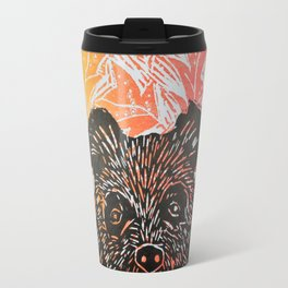 brown bear in autumn leaves lino print Travel Mug