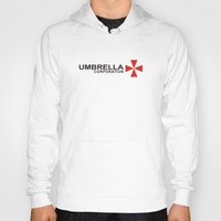 resident evil Hoodies featuring UMBRELLA COOPERATION T SHIRT TOP TEE TSHIRT RESIDENT EVIL ATHLETIC LOGO SLOGAN by jekonu