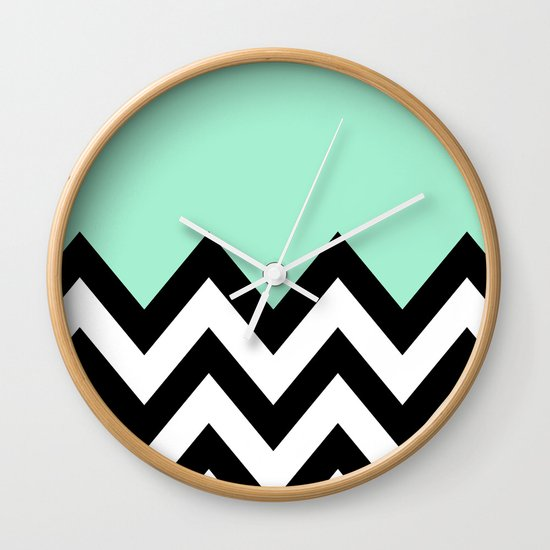Mint Green Colorblock Chevron Wall Clock By Natalie Society6