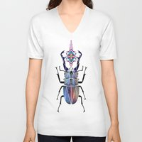 beetle V-neck T-shirts featuring beetle by Manoou