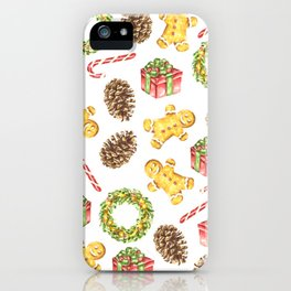Christmas Watercolor Illustration Pattern iPhone Case