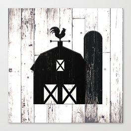 Faux White Wood & Black Barn Canvas Print