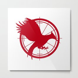 Catching Fire MockingJay - Red Metal Print
