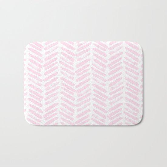 Handpainted Chevron pattern light pink stripes Bath Mat