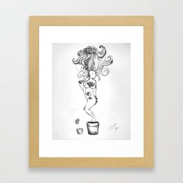 woman/flower Framed Art Print