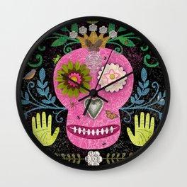 Whimsical Pink Skull Wall Clock