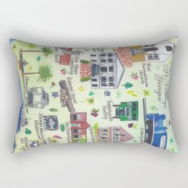 """Downtown St. Marys, GA"" Watercolor Map Rectangular Pillow"