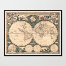 Vintage World Art Map Canvas Print