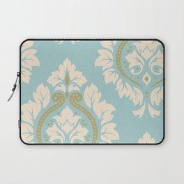 Decorative Damask Art I Cream & Gold on Blue Laptop Sleeve
