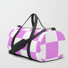 CHECKERBOARD (VIOLET & WHITE) Duffle Bag