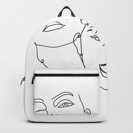 Abstract Faces in One Simple Line Backpack