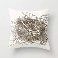 the wire Throw Pillows featuring Wire Nest by Sam Pash
