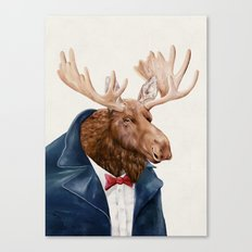 Moose in Navy Blue Canvas Print