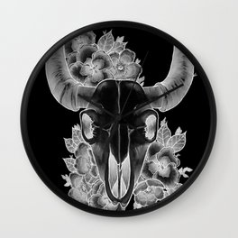 Ram skull negative Wall Clock