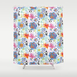 Mixed Media Flowers with Black Accent Flowers Shower Curtain