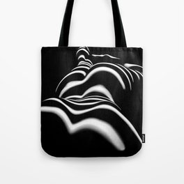 8903-SLG Sensual Nude Woman Back Shoulders Butt Erotic Curves Black & White Zebra Stripes Tote Bag