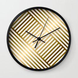 Art Deco Gold and Eggshell White Geometric Pattern Wall Clock