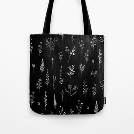 Black wildflowers Tote Bag